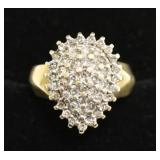 10K yellow Gold .50 Cttw Diamond Cluster Ring