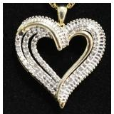 Ladies Large Diamond Heart Necklace