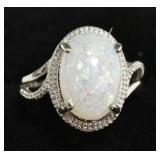 Ladies Sterling Silver Opal Estate Ring