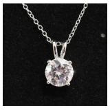 Ladies Sterling Silver White Sapphire Necklace