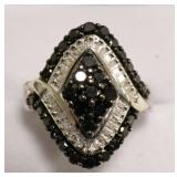 Sterling Silver Genuine Black & White Diamond Ring