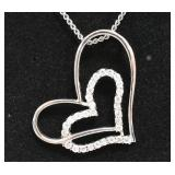 Sterling White Sapphire Double Heart Necklace