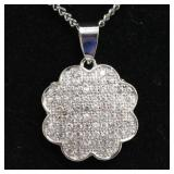 Sterling Silver White Sapphire Pave