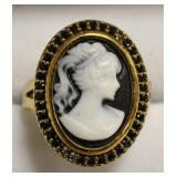 Sterling Silver Cameo Estate Ring