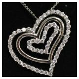 Sterling White Sapphire Triple Heart Necklace