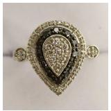 Sterling Silver Genuine Back & White Diamond Ring