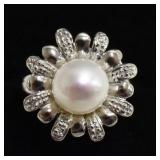 Sterling Silver Pearl Estate Ring