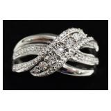 Sterling Silver Diamond Dinner Ring