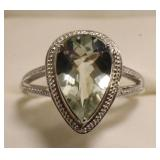 Sterling Silver 4.04 Ct Green Amethyst Ring