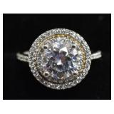 Sterling Silver 3.01 Ct  White Sapphire Halo Ring