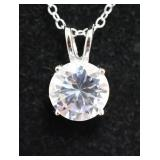 Sterling Silver White Sapphire Solitaire Necklace