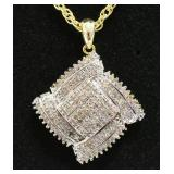 Ladies Large Diamond Estate Necklace