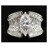 Sterling Silver 4.68 Ct White Sapphire Marque Ring