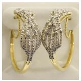 Ladies Large Diamond Cluster Earrings