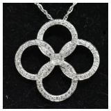Sterling Silver Brilliant White Sapphire Necklace