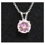 Sterling Silver Pink Sapphire Solitaire Necklace