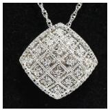 Sterling Silver Large Diamond Necklace