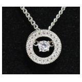 Silver Brilliant White Sapphire Floating Necklace