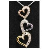 Ladies Triple Heart Diamond Necklace