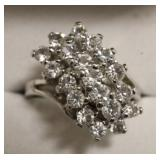 Sterling Silver White Sapphire Cluster Ring
