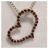 Sterling Silver Ruby Heart Necklace