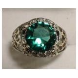 Sterling Silver Mint Green Sapphire Filigree Ring