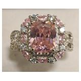 Sterling Silver Pink & White Sapphire Ring