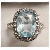 Sterling Silver Aquamarine & White Sapphire Ring