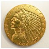 1909-D U.S. $5.00 Indian Head Gold Coin