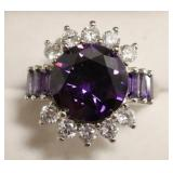 Sterling Silver Amethyst & White Sapphire Ring