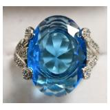 Sterling Silver Blue Topaz & White Sapphire Ring