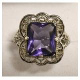 Sterling Silver Amethyst Filigree Ring