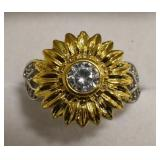 Sterling Silver White Sapphire Sunflower Ring