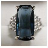 Sterling Silver London Blue Topaz Cocktail Ring