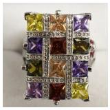 Sterling Silver Multi-Gemstone Basket Weave Ring