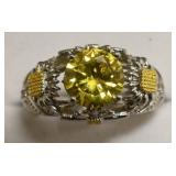 Sterling Silver Yellow Sapphire Sunflower Ring