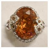 Sterling Silver Morganite & White Sapphire Ring