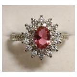 Sterling Silver Pink Tourmaline Dinner Ring