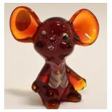 Fenton Amberina Glass Holiday Mouse Figurine