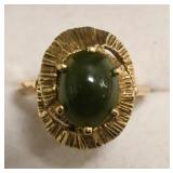Ladies 14K Yellow Gold Jade Estate Ring