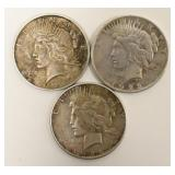 Lot Of 3 United States Peace Silver Dollar