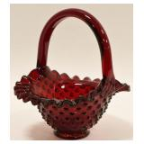 Fenton Ruby Red Amberina Hobnail Basket