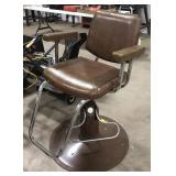 Brown leather hydraulic base barbers chair