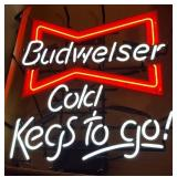 "Budweiser ""Cold Kegs To Go"" Neon Advertising Sign"