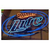 Oval Miller Lite Beer Neon Advertising Sign