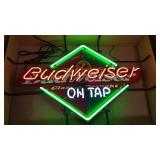 Budweiser On Tap Neon Sign w/Sign backing.