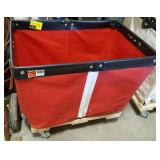 Red Vinyl Laundry Cart