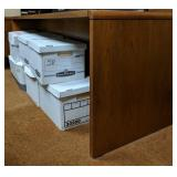 Wooden office desk and credenza