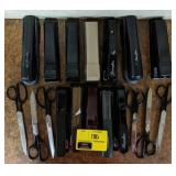 Large lot of staplers and scissors