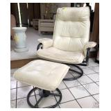 Leather Swivel Chair With Foot Rest